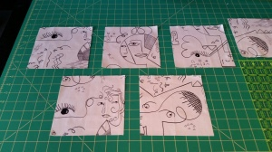 Fussy cut faces for table runner and placemats