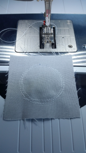 Stitching circles - showing the three times around